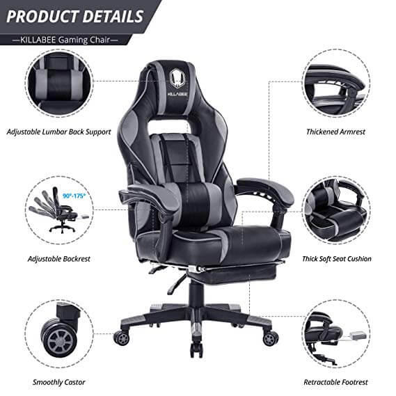 Pleasant Killabee Reclining Memory Foam Racing Gaming Chair Pdpeps Interior Chair Design Pdpepsorg